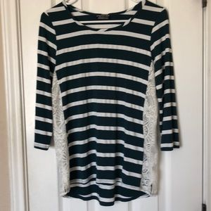 Striped lace detail top